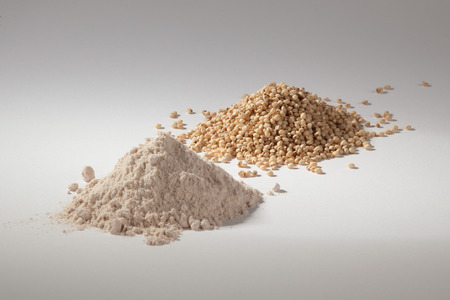 dryed: Sorghum in the raw state and then processed into flour on a white background