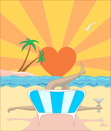 sanatorium: Vector illustration woman lying on sunbed on beach with cocktail during sunset in front of island with palms