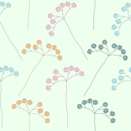 Floral seamless pattern with wild flowers of different colors Vector