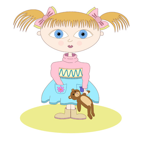 kinder garden: Vector illustration little girl with pony tales and bangs standing with teddy bear in her hand