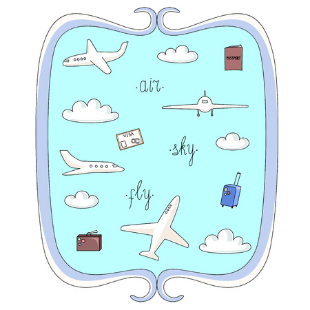 airway: Vector illustration set of planes and things connected with flights clouds bags and documents in decorative frame