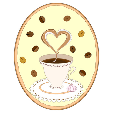 meringue: Vector illustration cup of coffee on napkin with meringue and coffee beans in oval frame Illustration