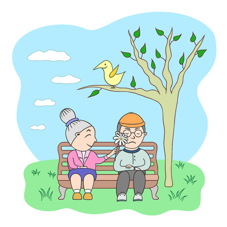 old age: Vector illustration couple of old age woman and man sitting on bench in park near tree with smiling bird Illustration