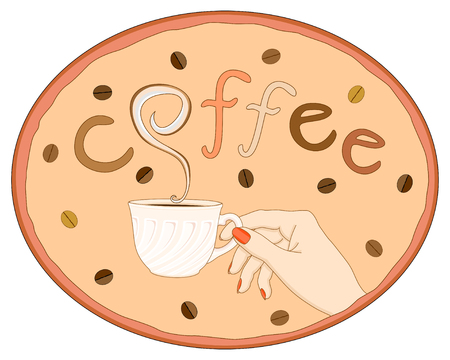 Vector illustration hand keeping cup of coffee in oval frame with coffee beans and word coffee