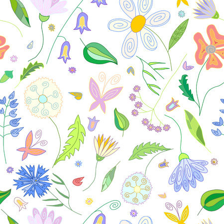 campanula: Floral seamless pattern with wild flowers of different colors leaves and butterflies on white background