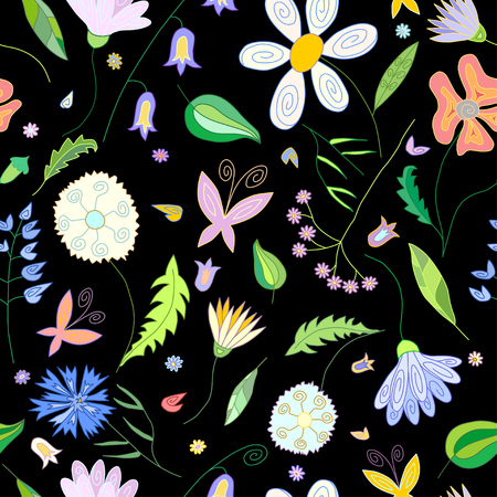 papaver: Floral seamless pattern with wild flowers of different colors leaves and butterflies on black background
