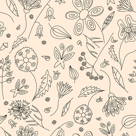 weegbree: Floral seamless pattern with black contours of wild flowers leaves and butterflies on beige background