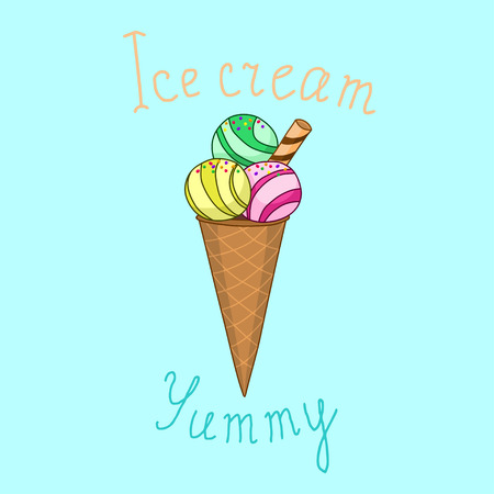 yummy: Vector illustration ice cream with words ice cream and yummy on blue background Illustration