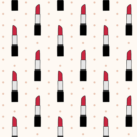 Vector seamless pattern with red lipsticks on beige background with polka dot