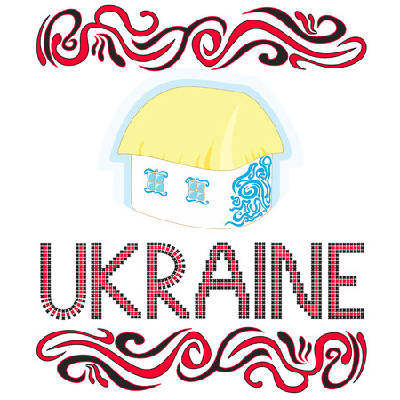 country house style: Vector illustration Ukrainian country house Word Ukraine made in cross-stitch style and wavy ornament in red and black colors Illustration