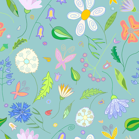 an inflorescence: Floral seamless pattern with wild flowers of different colors leaves and butterflies on cyan background