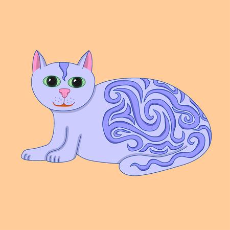 catlike: Vector illustration purple fairytale cat with wavy ornament isolated on orange background