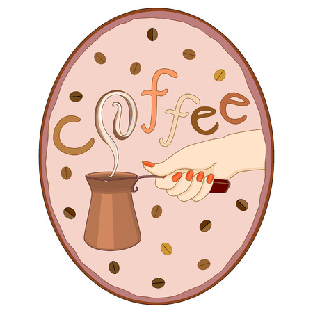 Vector illustration hand keeping coffee pot in oval frame with coffee beans and word coffee on background Illustration