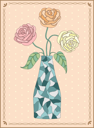 Vector illustration three roses in vase in rectangular frame with wavy ornament and polka-dot Illustration