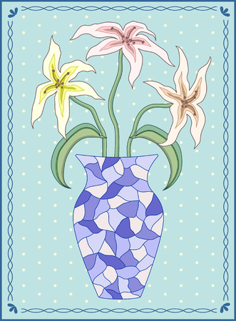 lilium: Vector illustration three lilies in vase in rectangular frame with wavy ornament and polka dot