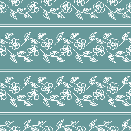 daisy wheel: Floral seamless pattern with white weaving flowers and stripes on cyan background Illustration