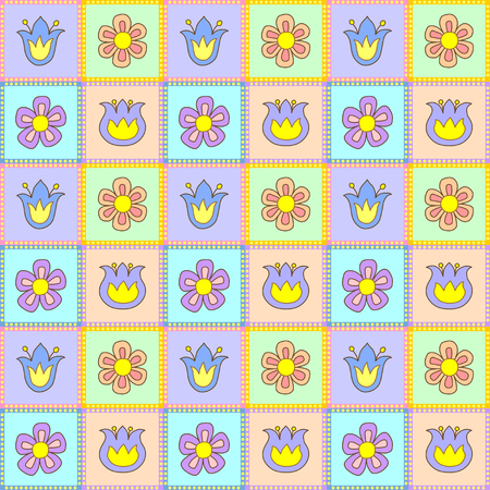 daisy wheel: Floral seamless pattern with flowers of different colors in square frames