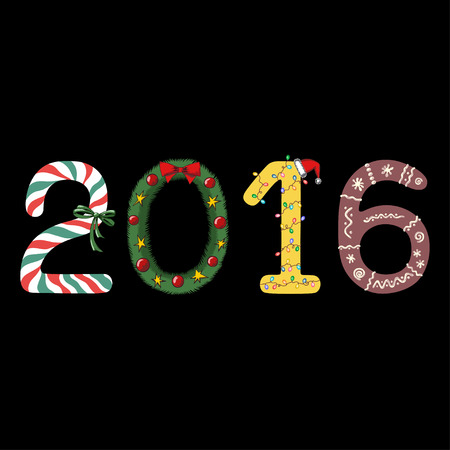 holly day:   2016 New Year made in form of candy holly wreath garland and christmas gingerbread