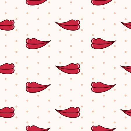 beige lips:  seamless pattern with red lips on beige background with polka dot