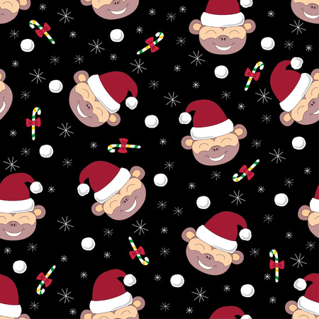 neve palle: Vector seamless pattern with smiling monkeys candies snowballs and snowflakes on black background
