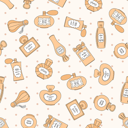 bottle nose: Vector seamless pattern with perfume bottles of different shapes on beige background with polka dot