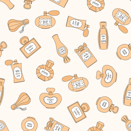 eau de perfume: Vector seamless pattern with perfume bottles of different shapes on beige background