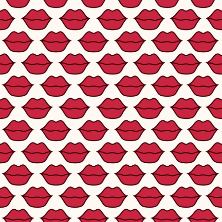 plump lips: seamless pattern with red lips on beige background