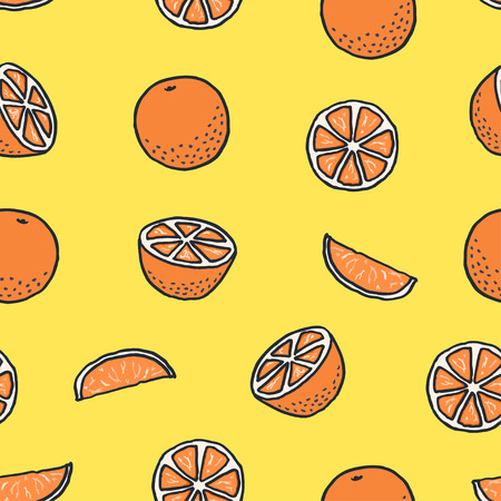 seamless pattern with drawn cartoon oranges on orange background Stock Illustratie