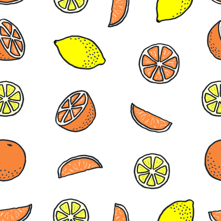 seamless pattern with drawn cartoon oranges and lemons on white background