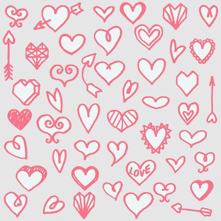 dearness: illustration set of different freehand drawn cartoon hearts Illustration
