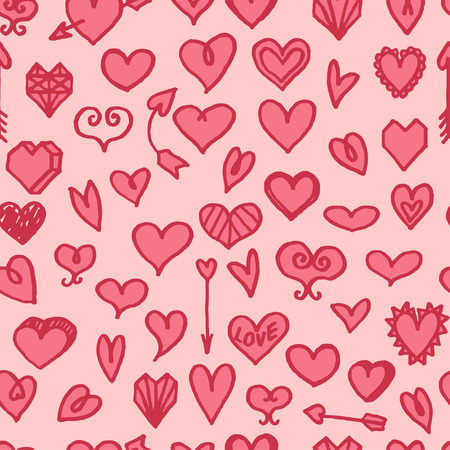 dearness: seamless pattern with freehand drawn cartoon hearts on pink background