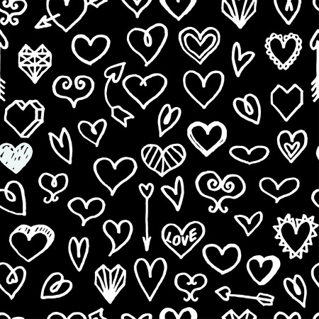 dearness: seamless pattern with white freehand drawn cartoon hearts on black background Illustration