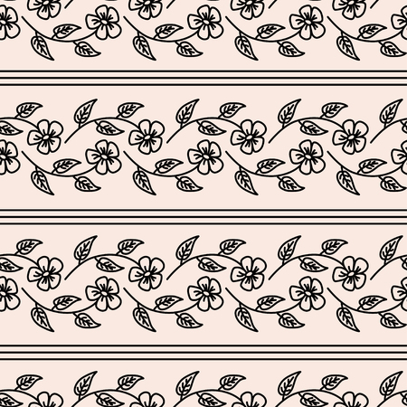 chamomel: Floral seamless pattern with black weaving flowers and stripes on beige background Illustration