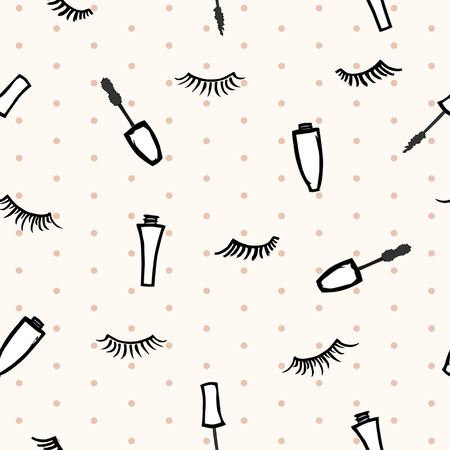 cosmetician: seamless pattern with mascaras and eyelashes on beige background with polka dot