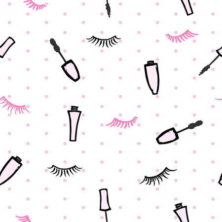 seamless pattern with mascaras and eyelashes on white background with polka dot
