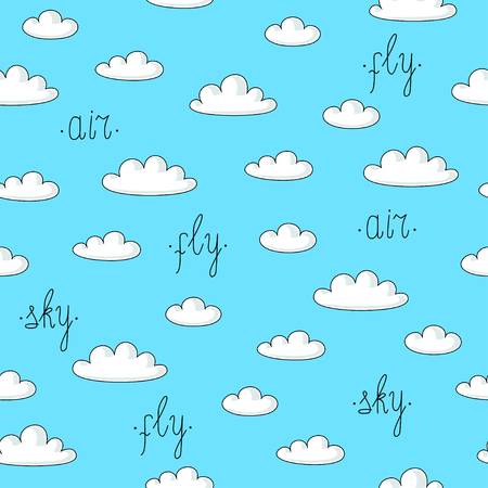 palate: seamless pattern with clouds and words on blue background Illustration