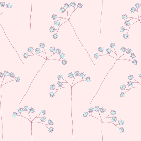 umbel: Floral seamless pattern with blue wild flowers on pink background