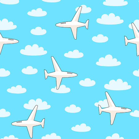 Vector seamless pattern with planes and clouds on blue background