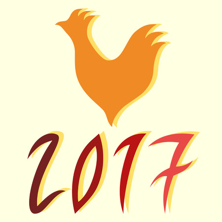holly day: Vector illustration rooster and 2017 year made in red and orange colors