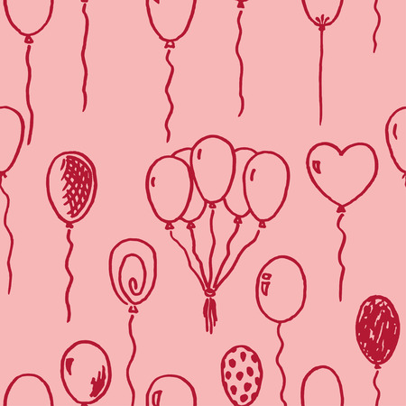 Vector seamless pattern with different freehand drawn cartoon balloons on pink background