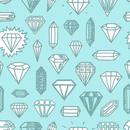 Vector seamless pattern with freehand drawn cartoon diamonds on blue background