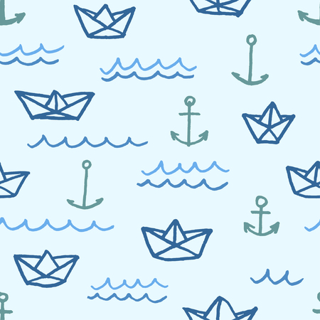 Vector seamless pattern with freehand drawn cartoon paper ships anchors and waves on blue background Illustration