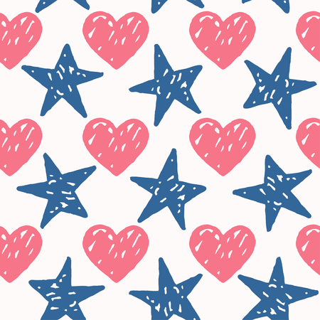 Vector seamless pattern with freehand drawn cartoon hearts and stars on white background