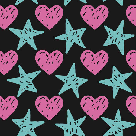 Vector seamless pattern with freehand drawn cartoon hearts and stars on black background