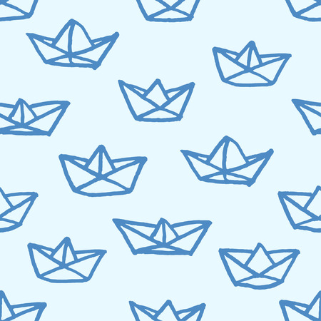 Vector seamless pattern with freehand drawn cartoon paper ships on blue background