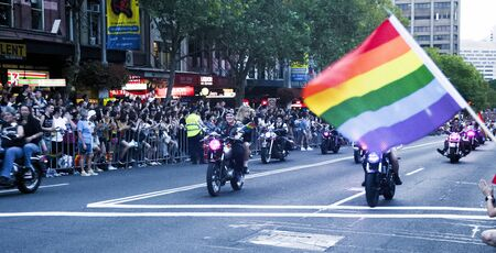 SYDNEY, AUSTRALIA - March 2 2019: Dykes on bikes leading the Mardi Gras 2019 parade.