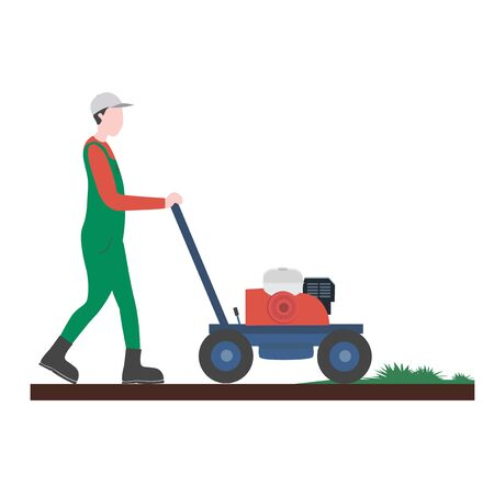 Guy mowing grass. artificial turf. Flat vector illustration.