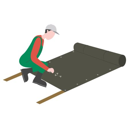 A man is laying artificial grass. vector illustration