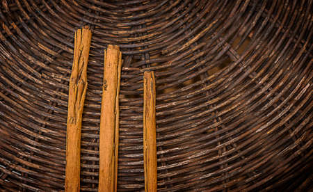 fragrant cinnamon sticks on a dark background of intertwined twigs