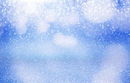blue glitter background with bokeh. defocus background Imagens